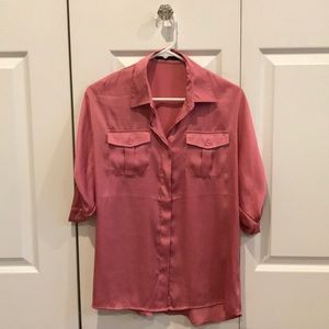Silk button up tee size small